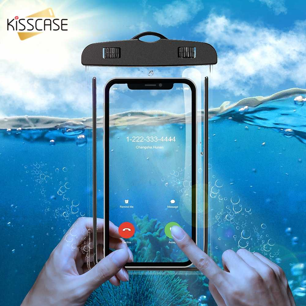KISSCASE Waterproof Mobile Phone Case For Huawei P20 Pro Mate 20 Lite P30 P10 Luminous Bag Cases For iPhone XS XR X Cover Coque
