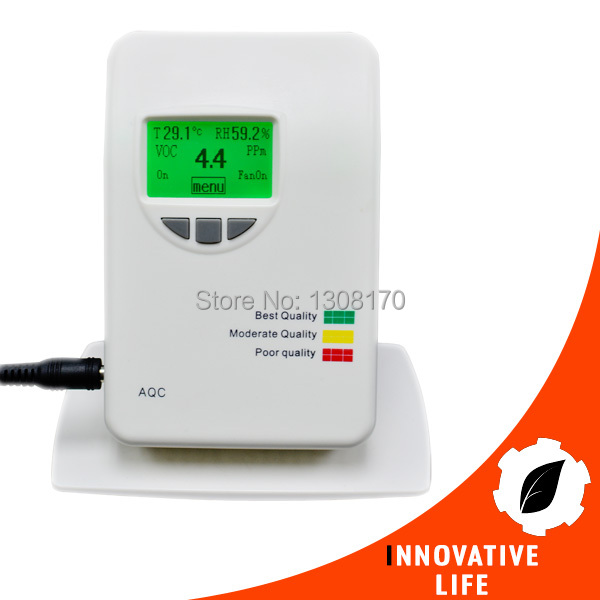 VOC Meter Color Coded Air Quality Instrument Gas Detector LCD Display Humidity Temperature Indicator