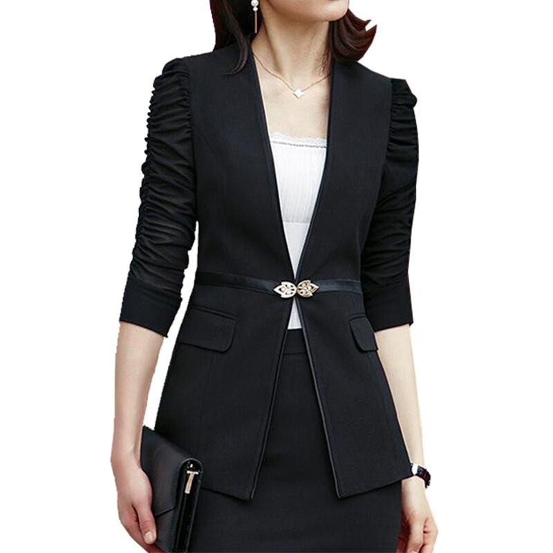 Frauen Kleidung & Zubehör Logisch Neue Mode Frühling Frauen Schlank Blazer Feminino Mantel Casual Jacke Halbe Hülse Versteckte Taste Anzug Weiß Damen Blazer Arbeit Tragen