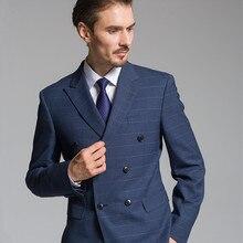 Клетчатый мужской костюм на заказ древесный уголь клетчатый костюм s для мужчин сделанный на заказ Charocoal синий клетчатый блейзер мужской Клетчатый костюм на заказ