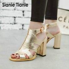 Sianie Tianie 2019 summer golden silver peep open toe hallow cut out block  high heels gladiator 1cb5d8bcc35e