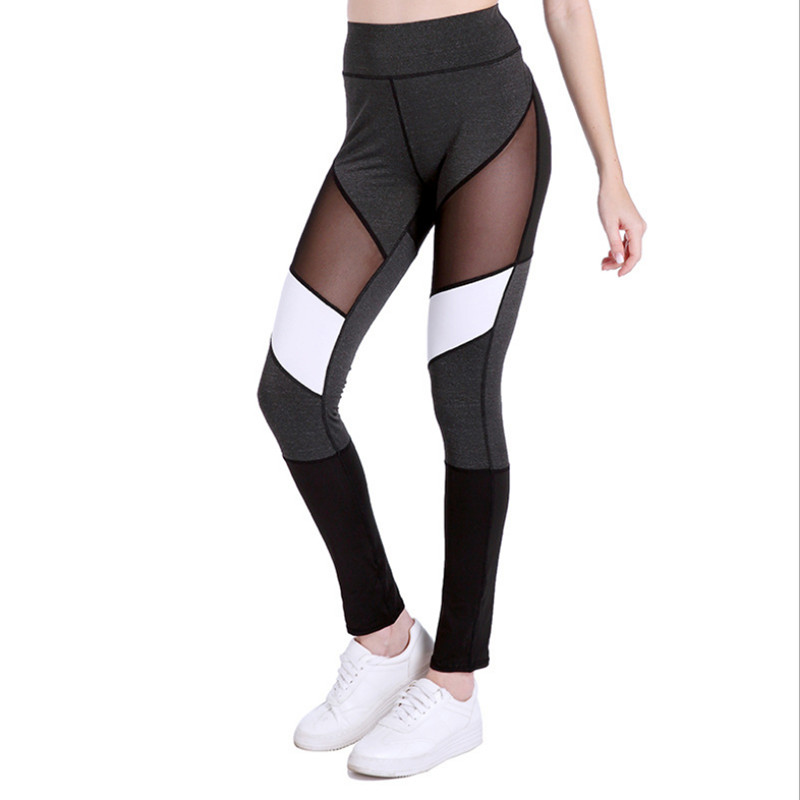 2018 Autumn Casual   Leggings   Women Fitness   Leggings   Sexy Patchwork Mesh Skinny Sporting Pant Fourneedle Six Lines   Leggings