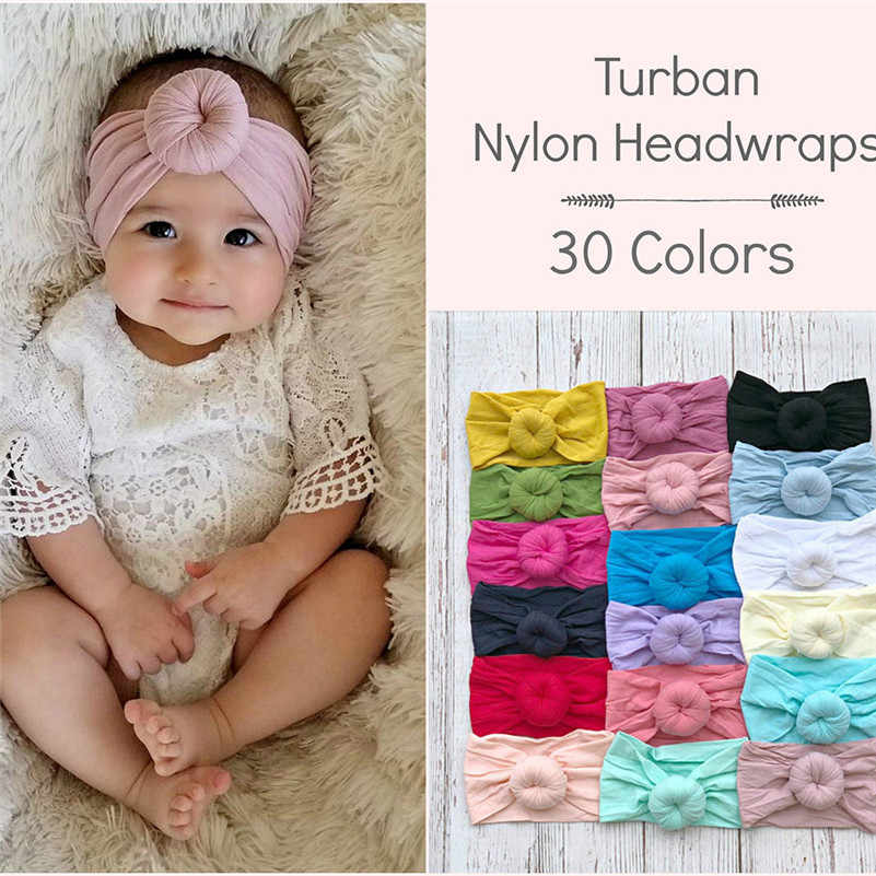 New Baby Headband Newborn Girl Head Bands Infant Solid Turban Toddler Hair Accessories Cute Soft Nylon Ball Headwraps Hair Band