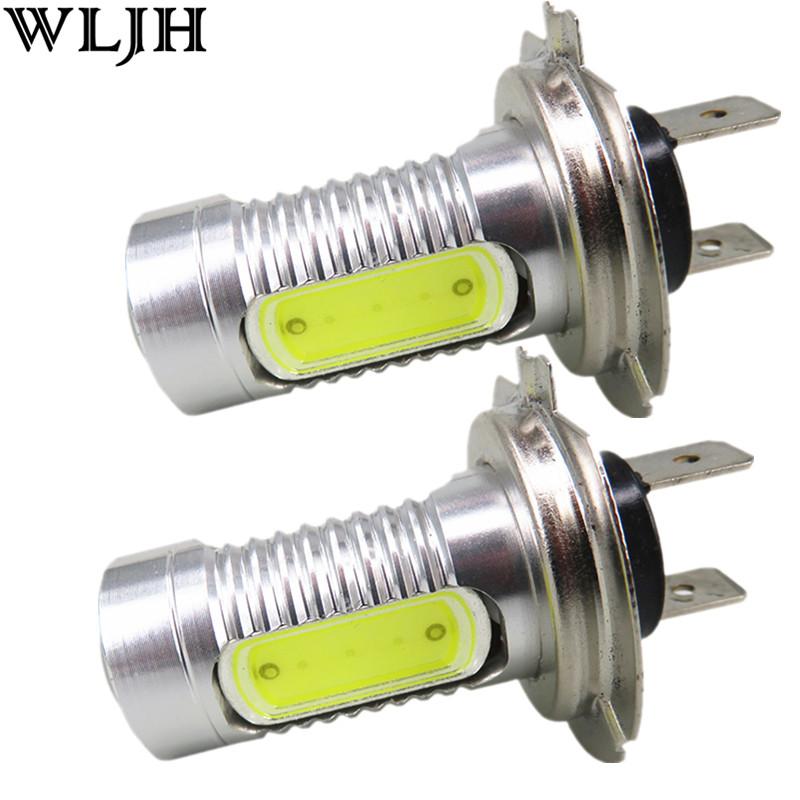 Prix pour WLJH 2X Xenon Blanc Haute Puissance 7.5 W H7 Ampoule led COB Lumière Led Light Car Source Faible Faisceau de Phare Lampe Brouillard Conduite DRL Lumière