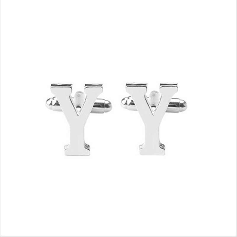Mens Cuff links For Fathers Day Wedding Birthday Gift 26 Initial Alphabet Letter Cufflinks