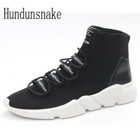 Hundunsnake High Top Trail Sock Sneakers Men Black Knit Running Shoes For Men Krasovki Women Gumshoes