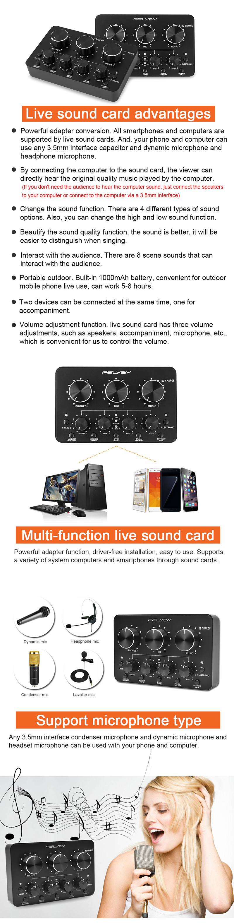 FELYBY sell like hot cakes! Internet podcast essential multi-function live  sound card for cellular phone computers