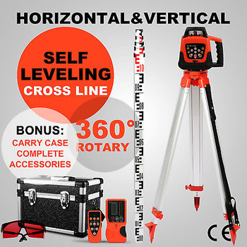 Red Rotary Laser  Level SELF-LEVELING 1.65M TRIPOD 5M Sopwith staff ELECTRONIC