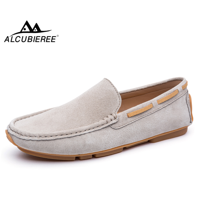 ALCUBIEREE Brand Men Slip-on Driving Loafers Men's Casual   Suede     Leather   Moccasins Male Breathable Boat Shoes Chaussures Hommes