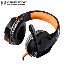 2pcs/lot EACH G2000 orange Stereo Surrounded Deep Bass Gaming Headphone Headset with Led Light Mic for Computer PC opp package