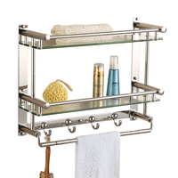 Towel rack stainless steel towel rack bathroom hardware pendant set bathroom double glass bathroom shelf CF65
