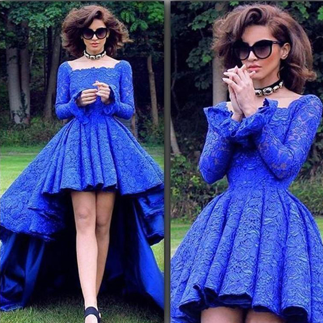 72cbc701ae82 Royal Blue Lace Long Sleeve Short Front Long Back Prom Dresses Sexy High  Low Lace Evening Party Gowns