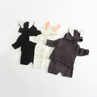 Spring Knitted Baby Girls Clothing Sets Cotton Cute Cartoon Rabbit Ear Hooded Coats Short Pants Outfit