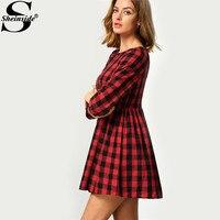 Sheinside Women S New Arrival Casual Dresses Ladies High Streert Korean Designer Red Black Round Neck
