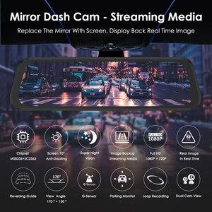 """Image 2 - Azdompg02 10 """"مرآة تعمل باللمس اندفاعة كام تدفق الوسائط ADAS عدسة مزدوجة عكس الكاميرا للرؤية الليلية 1080P مسجل السيارة ل Uber"""