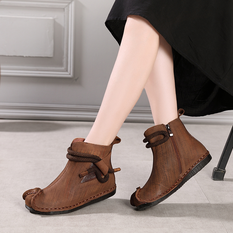 2018 VALLU Women Ankle Boots Genuine Leather Round Toes Side Zipper Handmade Vintage Autumn Winter Ladies Shoes Flat Boots 2018 vallu new leather shoes women ankle boots round toes buckle zipper handamde vintage flat platform ladies boots