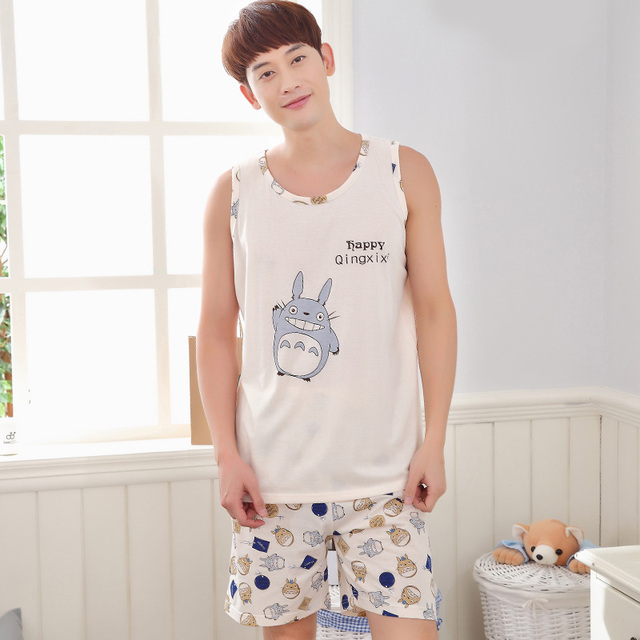 2017 - 1 set Totoro pattern Men's summer sleepwear