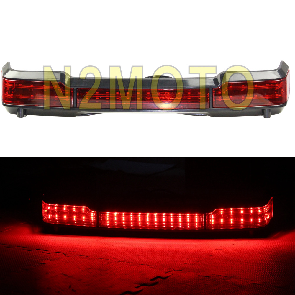 Motorcycle Run Brake Light Black LED Motorcycles Taillights For Harley Touring Classic King Tour Pack 1997