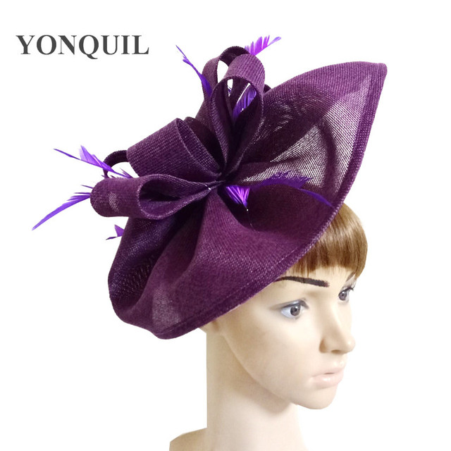 a450cc29a0596 Purple Party headwear bridal wedding hair fascinator hat with feather  accessories Imitation Sinamay hat church race hats SYF66