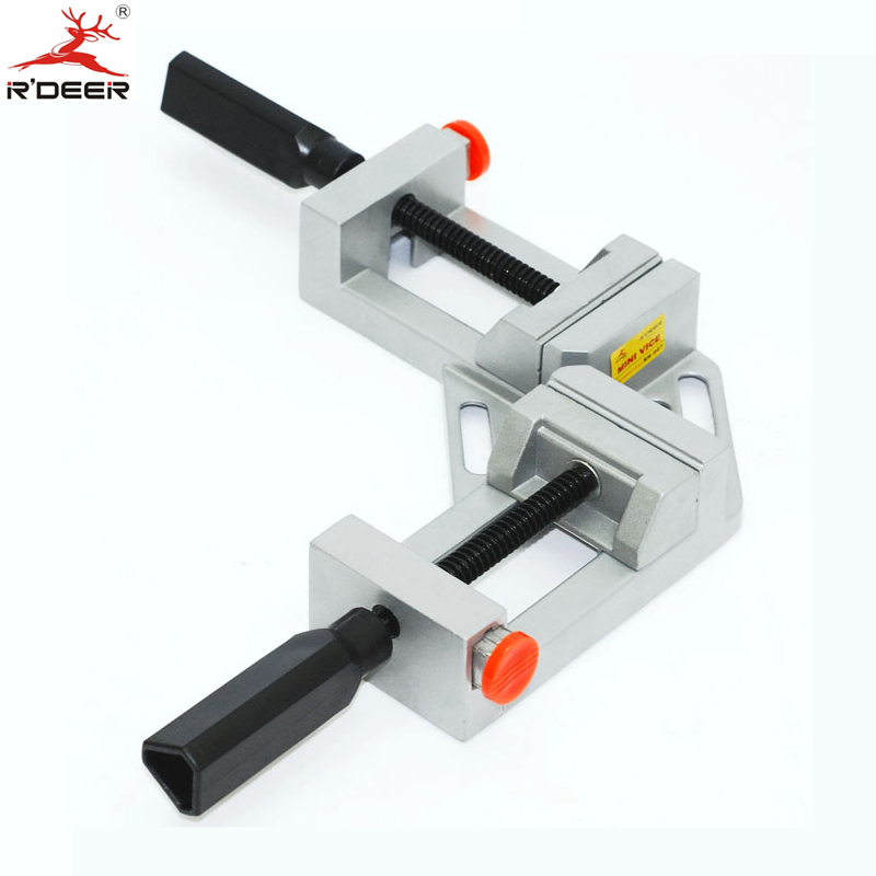 RDEER Angle Bench Vise Aluminum Alloy Right  Angle Pliers Vertical Flat Clamp Fast Double Handle Right Angle Clamp ninth world new single handlealuminum 90 degree right angle clamp angle clamp woodworking frame clip right angle folder tool