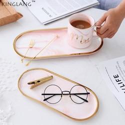 Ceramiczne marmurowy talerz owalny kształt różowy pani kosmetyki Taca śniadanie wyświetlacz płyta danie w Naczynia i talerze od Dom i ogród na