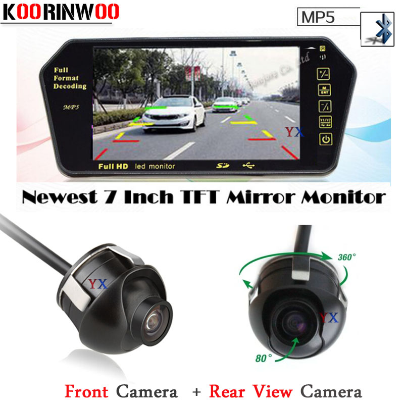 2017 Newest 7 Inch TFT LCD Mirror monitor 1024*600 MP5/MP4 Bluetooth SD/USB Slot car Front camera CCD Rear view camera Parking car horizon car monitor 7 inch tft color lcd mp5 car rearview mirror monitor lcd display screen support sd usb