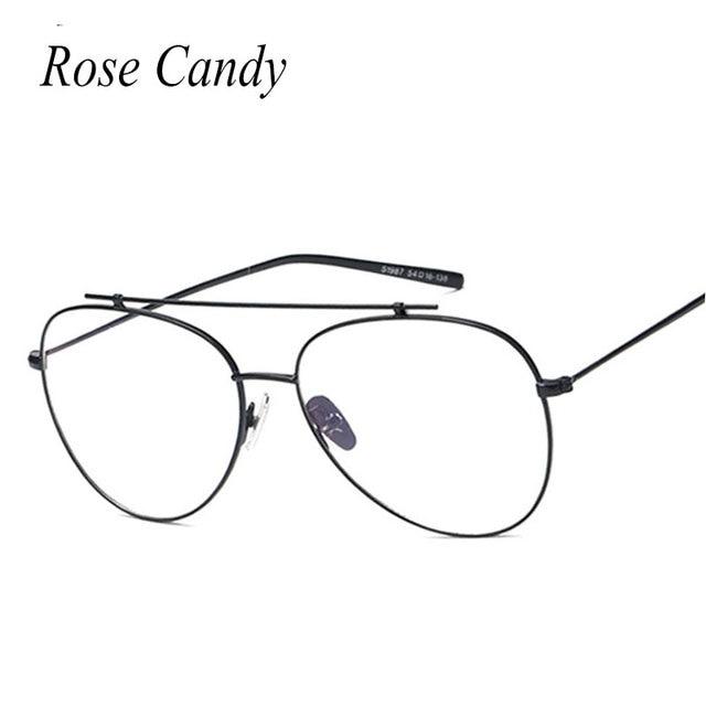 c853a4d200 Rose candy Men Women Pilot Clear lens Sunglasses Brand Designer Sun Glasses  Frame Vintage Cool Fashion Hipster 2017 New