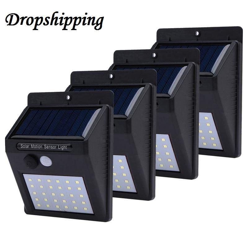 1-4 pcs 20/30 LED Solaire Lumière PIR Motion Sensor Wall Light Lampe à Énergie Solaire En Plein Air Rue Économie Cour chemin La Maison Jardin Lumière