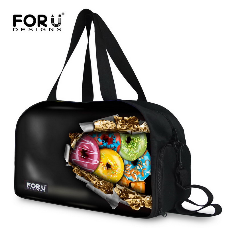 FORUDESIGNS Brand Black Men Travel Bags Large Capacity Women Luggage Travel Duffle Bags Funny Donuts Print Casual Canvas Bags