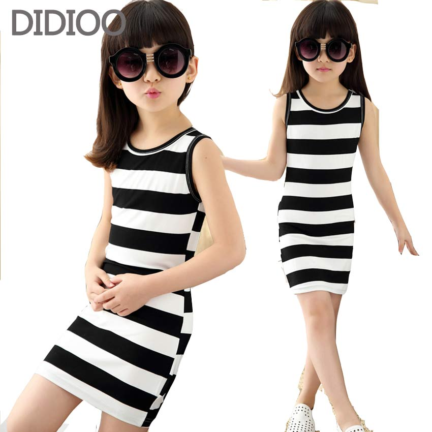 Vest Dresses For Girls Summer Girls Clothes Fashion Children Clothing Cotton Striped Kids Dress Casual Child Princess Sundress new girls dress brand summer clothes ice cream print costumes sleeveless kids clothing cute children vest dress princess dress