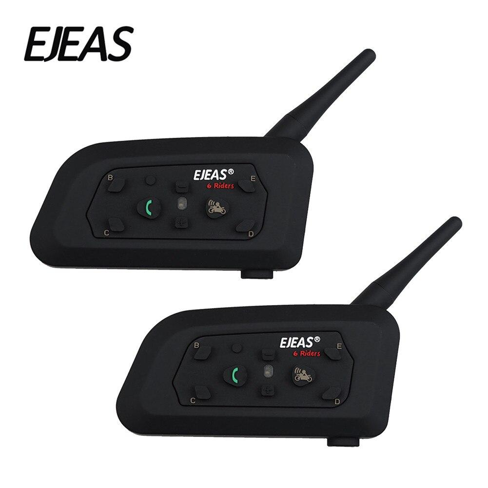 2 pièces Bluetooth Interphone moto casque V6-PRO accessoires haut-parleur 1200 m 6 coureurs Interphone Support Mp3 musique GPS casque