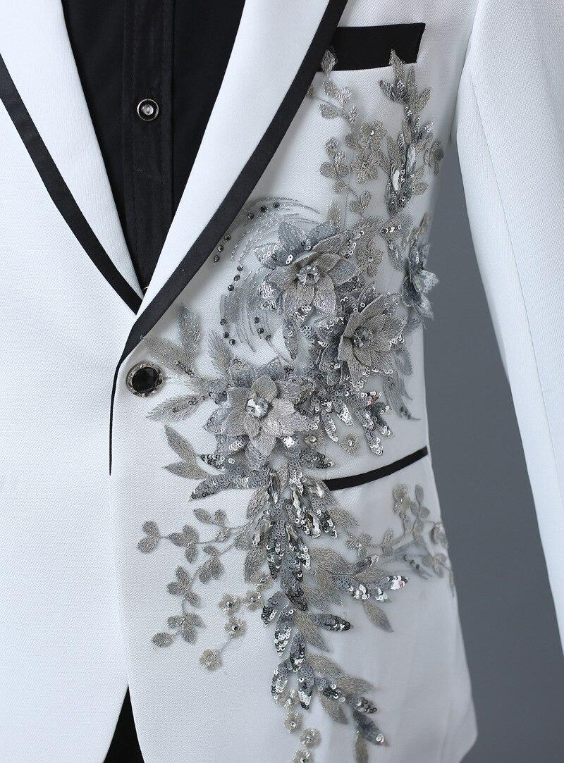 Anzug Blume Mit Weiß Homme White Männer Bestickt Zeigen