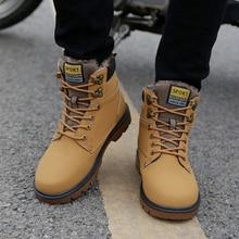 Теплые Мужские ботинки PU кожаные ботильоны Для мужчин осенне-зимние сапоги повседневные зимние ботинки Обувь Для мужчин S