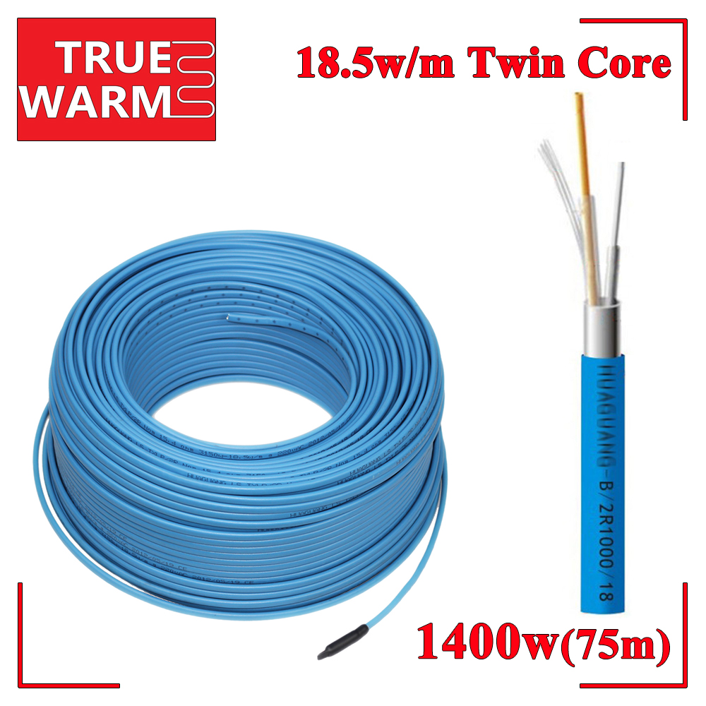 1400W 75M Twin Conductor Heating Cable For Power Saving Roof&Gutter De-icing Protection System, Wholesale-HC2/18-1400 аксессуар real cable opt 1 0 75m