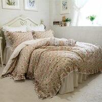 Новый деревенский с цветочным принтом постельные принадлежности комплект Кружево пододеяльник с оборками принцесса постельные покрывала