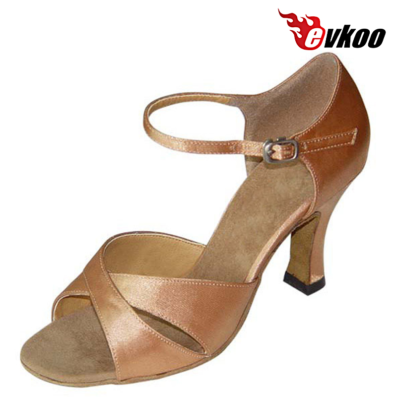 Evkoodance Satin Latin Dance Shoes 7cm Heel Height And Imitate Leather Black Woman Salsa Dance Shoes Evkoo-114