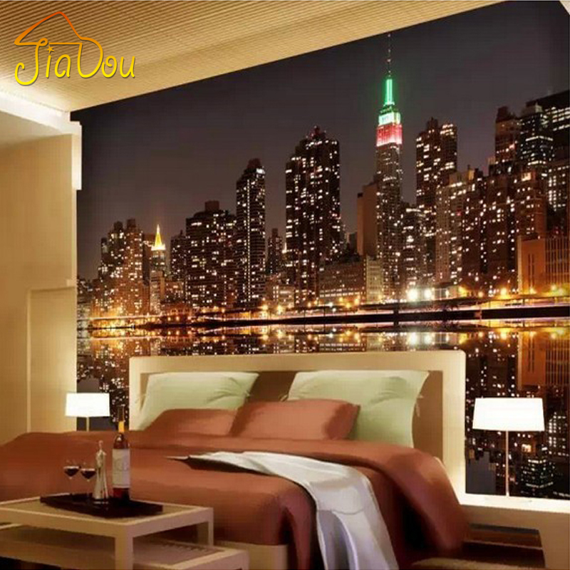 High quality custom 3d photo wallpaper city night view for 3d wallpaper of bedroom