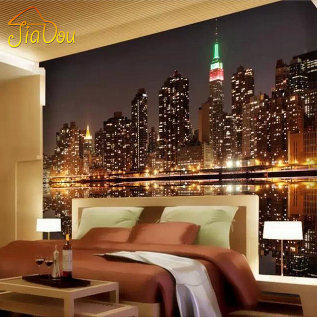 High quality custom 3d photo wallpaper city night view for Zoom room design