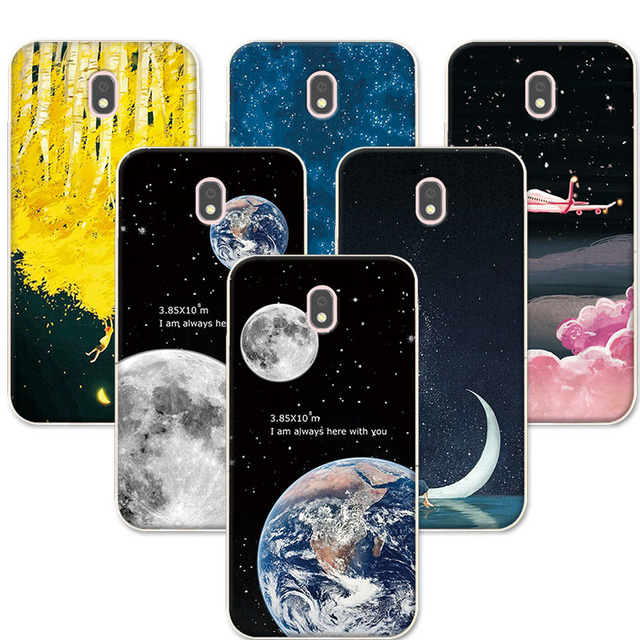 For Coque Samsung J3 2017 Couple Phone Case Space Stars