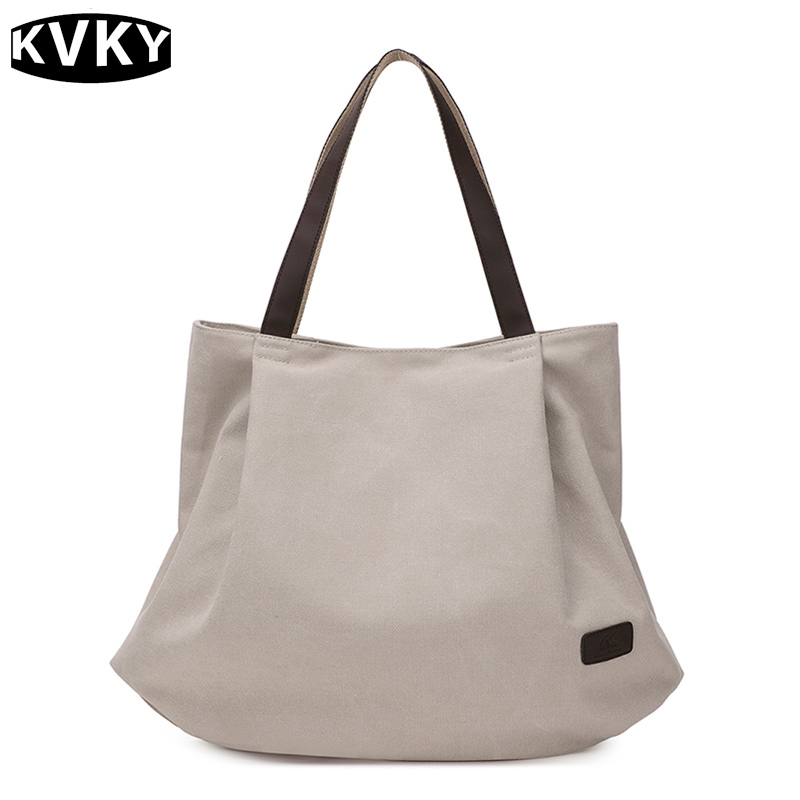 Simple Large Capacity Beige Shopping Bags Vintage Casual Canvas Tote Handbags Messenger Bolsos