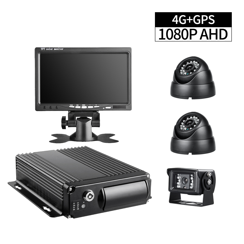 4G Network GPS Positiong 4CH Bus Mobile Dvr Video Mdvr For Bus Truck Van +3Pcs Waterproof Backup AHD Camera +32G SD +7