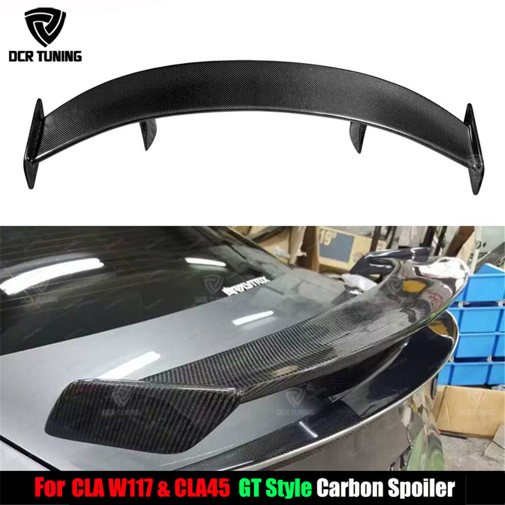 For Mercedes - Benz CLA CLASS W117 CLA45 Carbon Fiber Rear Trunk Spoiler 2013 2014 2015 2016-UP GT Spoiler Wing Lid car styling for suzuki sx4 s cross 2013 2014 automobile chrome rear door trunk lid cover trim car styling stickers accessories