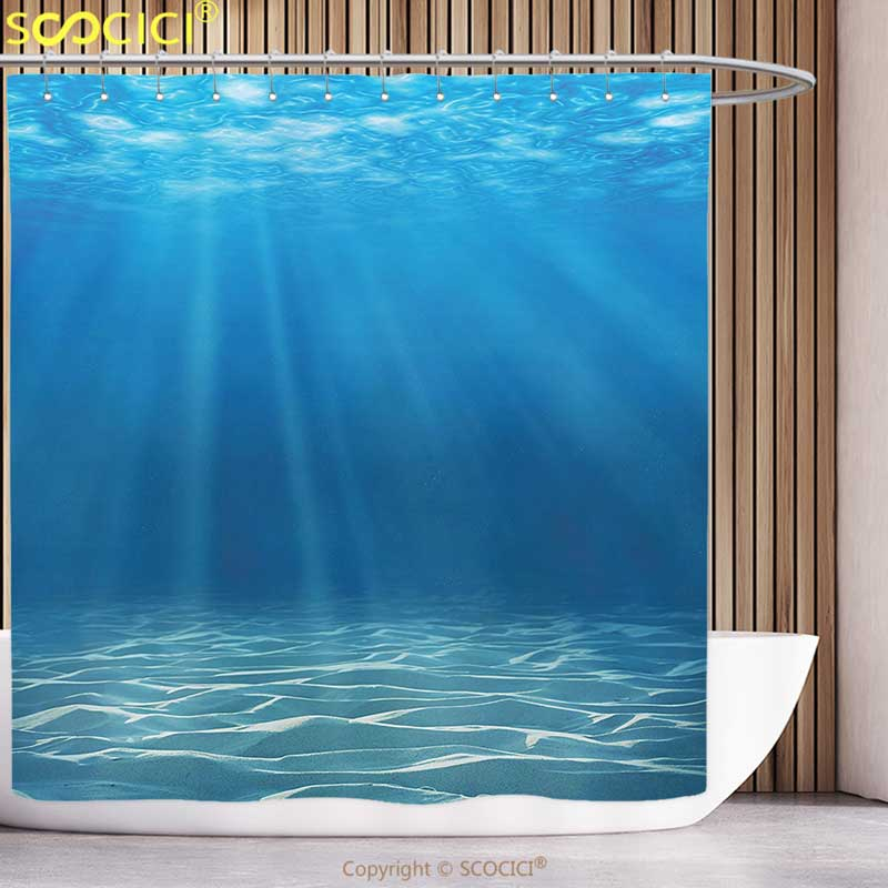 Polyester Shower Curtain Ocean Decor Sunlight Bursting <font><b>into</b></font> Deep Under Sea <font><b>Wilderness</b></font> Scenery Waterscape Picture Print Blue
