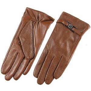 Image 2 - Brand Genuine Leather Gloves Spring Autumn Thin Fashion Trend Women Sheepskin Gloves Finger Driving Glove L093NN