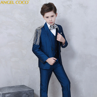 Одежда блейзер для мальчиков на подиуме с кисточками на плечах темно синий Детский костюм, костюмы для мальчиков на свадьбу, костюм Enfant Garcon