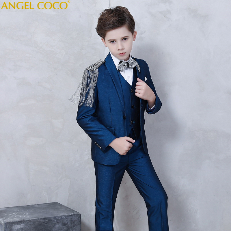 Shoulder Tassel Catwalk Boys Clothing Blazer Navy Blue Children Suit Set Boys Suits For Weddings Costume Enfant Garcon Mariage elk print pattern boys clothing blazer catwalk children s piano costumes hosted clothes thick winter boys suits for weddings set