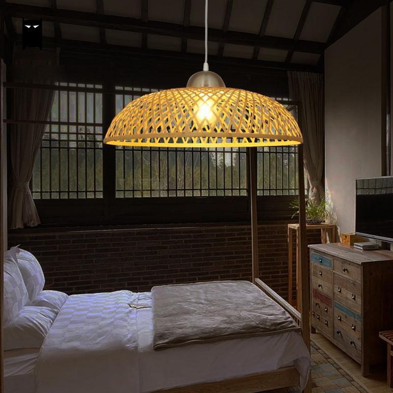 Bamboo Wicker Rattan Cap Shade Pendant Light Fixture Asian Japanese Vintage Minimalist Hanging Ceiling Lamp Plafon Avize Fitting