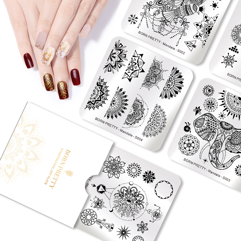 5PCS/Set BORN PRETTY Square Stamping Plates Mandala Series Flower Floral Stamping Templnate Animal Manicure Nail Art Image Plate mandala animal print tapestry wall art