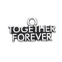 Minimal Wholesale 100Pcs Antique Silver Color Metal Together Forever Express Love Charm