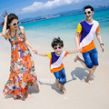 Family Clothes Sets Matching Mother Daughter Dresses Fashion Bohemian Beach Dress Father and Son Casual T-Shirts